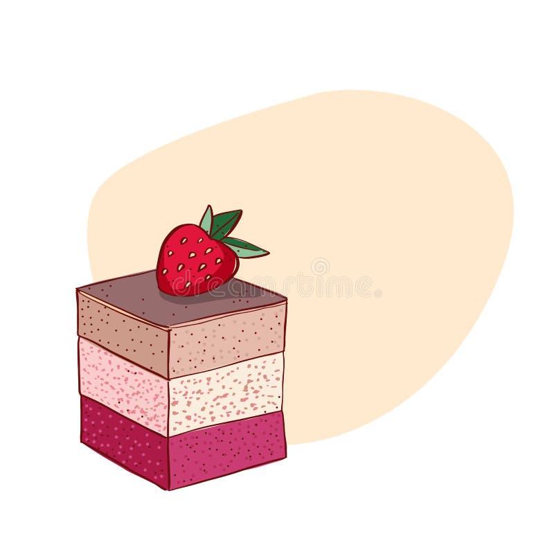 在白色背景隔绝的提拉米苏蛋糕 在白色背景隔绝的提拉米苏的手拉的传染媒介例证 减速火箭的样式 向量例证