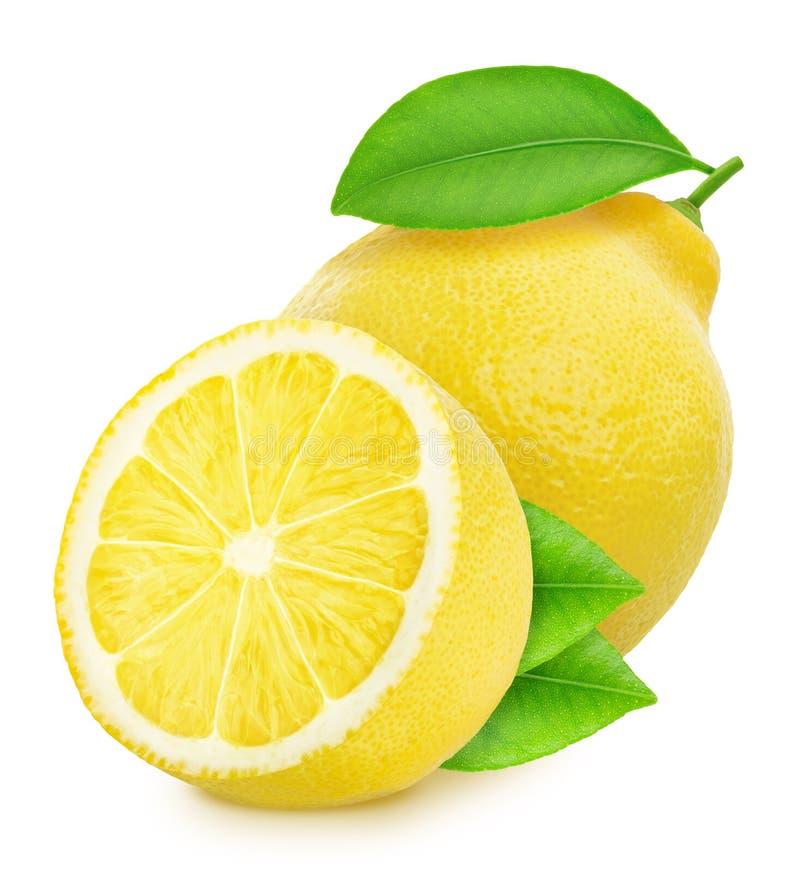 在白色背景隔绝的整个和被对分的柠檬 免版税库存照片