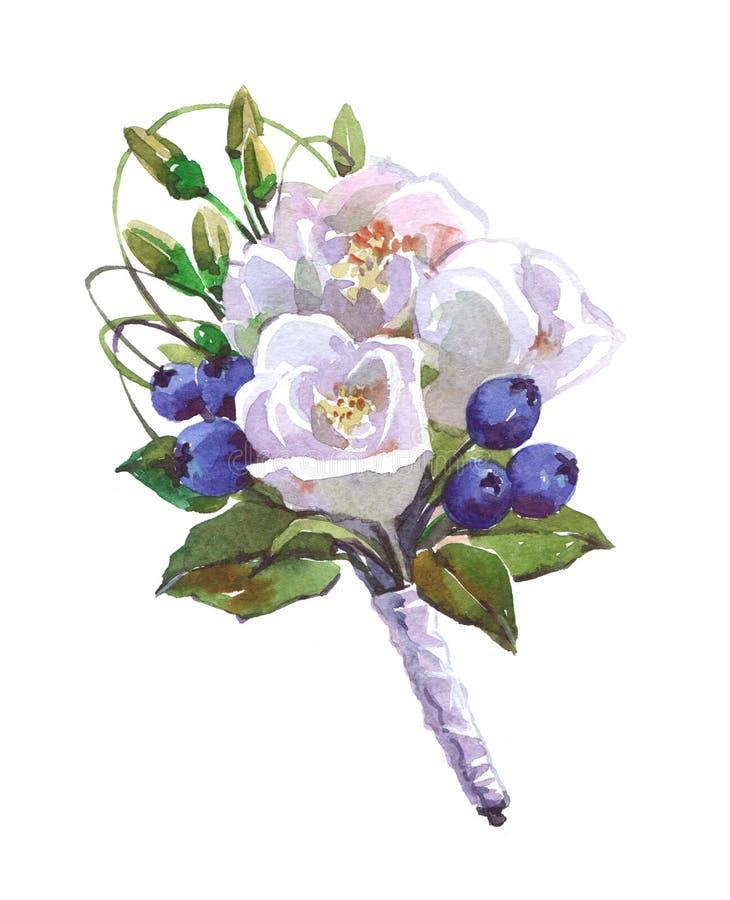 在白色背景隔绝的新娘花束水彩例证 库存例证
