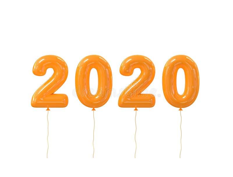 在白色背景隔绝的新年快乐2020现实橙色气球数字 3d?? 库存例证