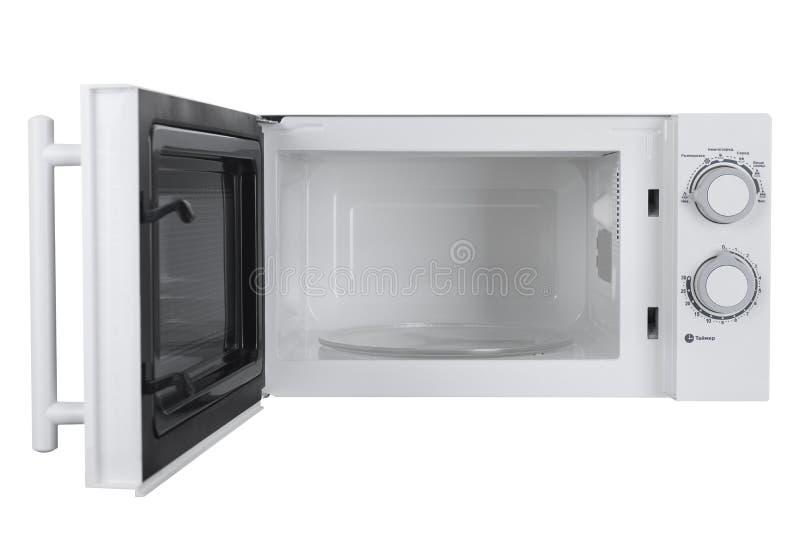 在白色背景隔绝的新的白色微波炉 免版税库存照片