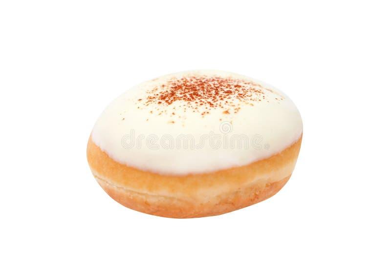 在白色背景隔绝的新鲜多福饼含糖的关闭 免版税库存照片