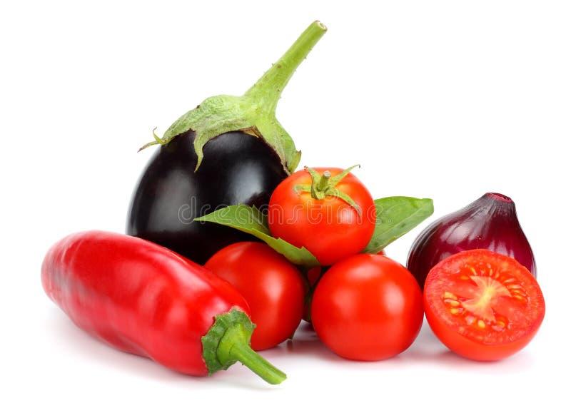 在白色背景隔绝的新鲜的未加工的蔬菜的分类 蕃茄,茄子,葱,辣椒,大蒜,香料 免版税库存照片
