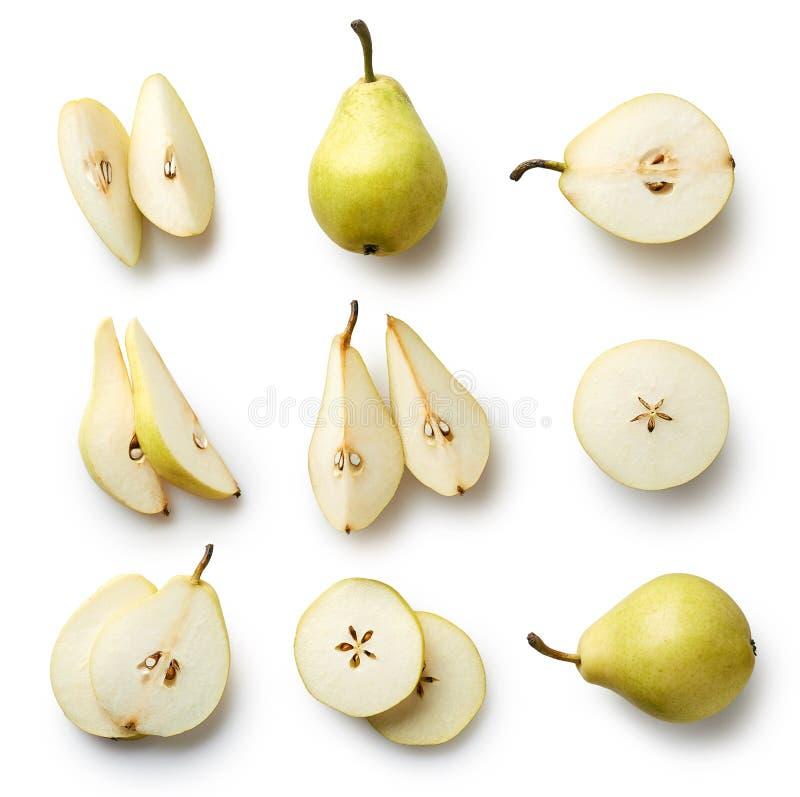 在白色背景隔绝的新鲜的梨 免版税图库摄影