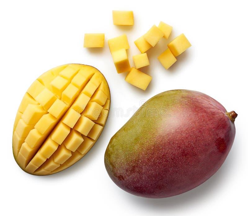 在白色背景隔绝的新鲜的芒果 库存照片