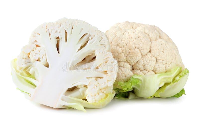 在白色背景隔绝的新鲜的花椰菜,包括裁减路线,不用树荫 库存图片