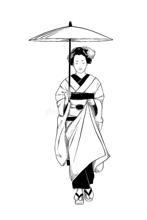 在白色背景隔绝的日本艺妓手拉的剪影 详细的葡萄酒蚀刻图画 库存例证