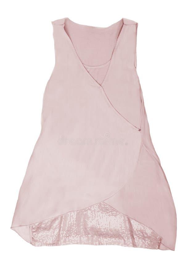 在白色背景隔绝的时兴的夏天衣裳 桃红色 图库摄影