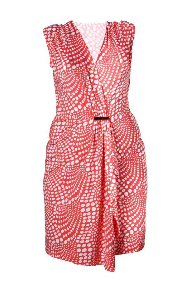 在白色背景隔绝的时兴的夏天衣裳 红色s 库存图片