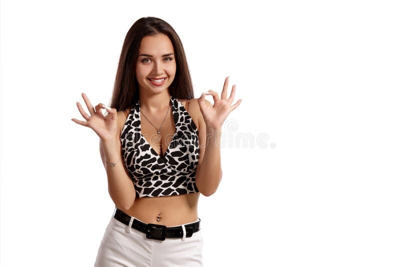 在白色背景隔绝的时装模特儿女孩的全长画象 图库摄影