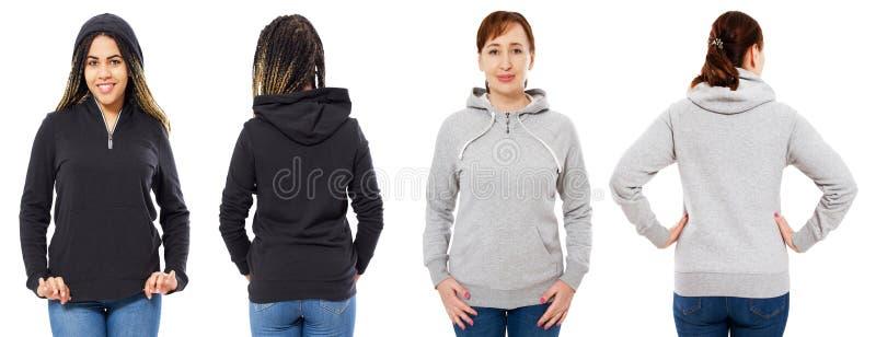 在白色背景隔绝的时髦的黑有冠乌鸦的女孩:灰色敞篷前面和后面看法的女孩被隔绝 免版税库存图片