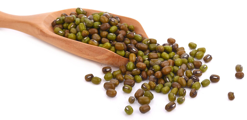 在白色背景隔绝的木匙子的绿豆 免版税库存照片