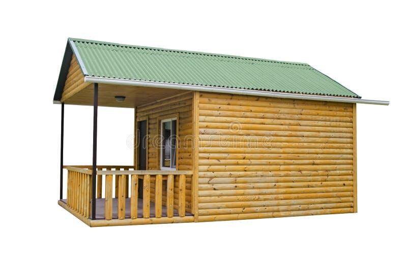 在白色背景隔绝的木房子 新的木浴的建筑在夏天村庄的 免版税库存图片