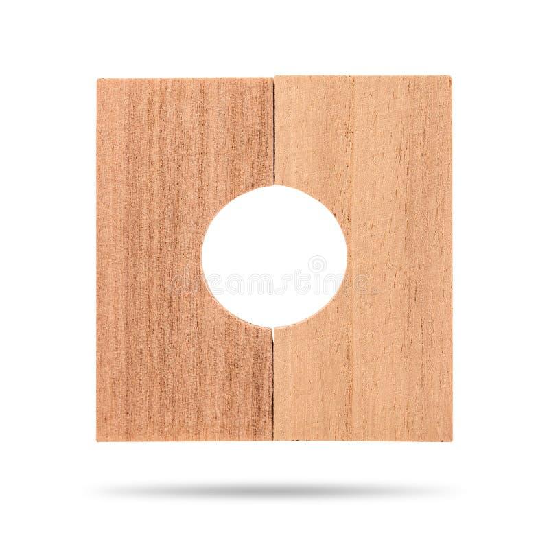 在白色背景隔绝的木板片断 与孔用途的正方形木板条在工业 r 库存照片