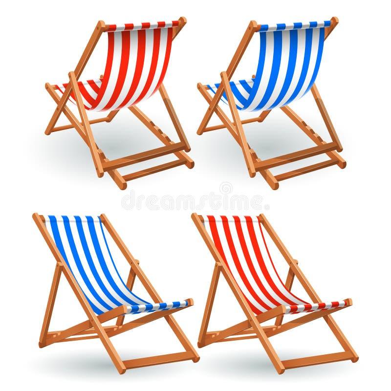 在白色背景隔绝的木海滩睡椅集合 向量例证