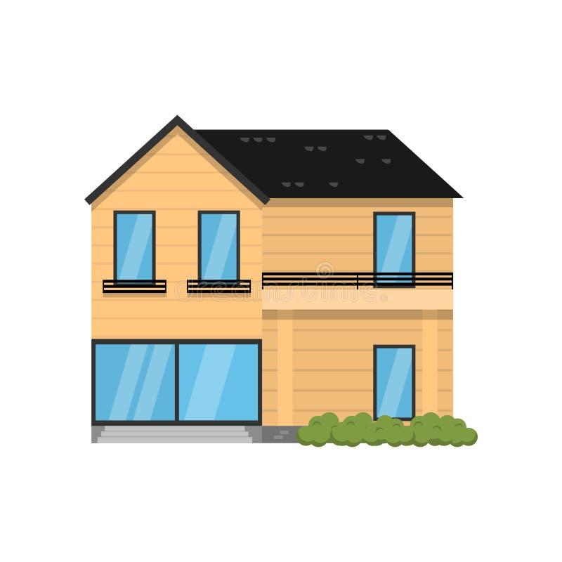 在白色背景隔绝的木现代二层楼的房子 库存例证