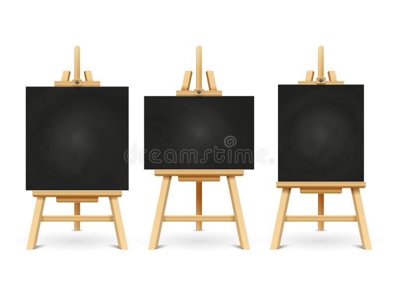 在白色背景隔绝的木白垩画架或绘画艺术委员会 向量例证