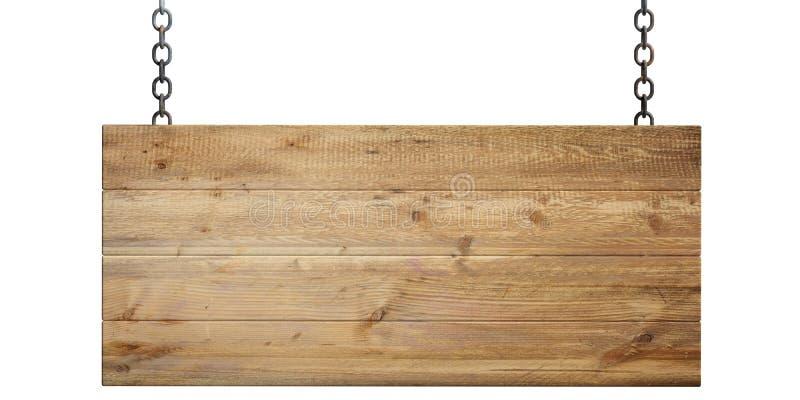 在白色背景隔绝的木空白的标志 3d例证 皇族释放例证