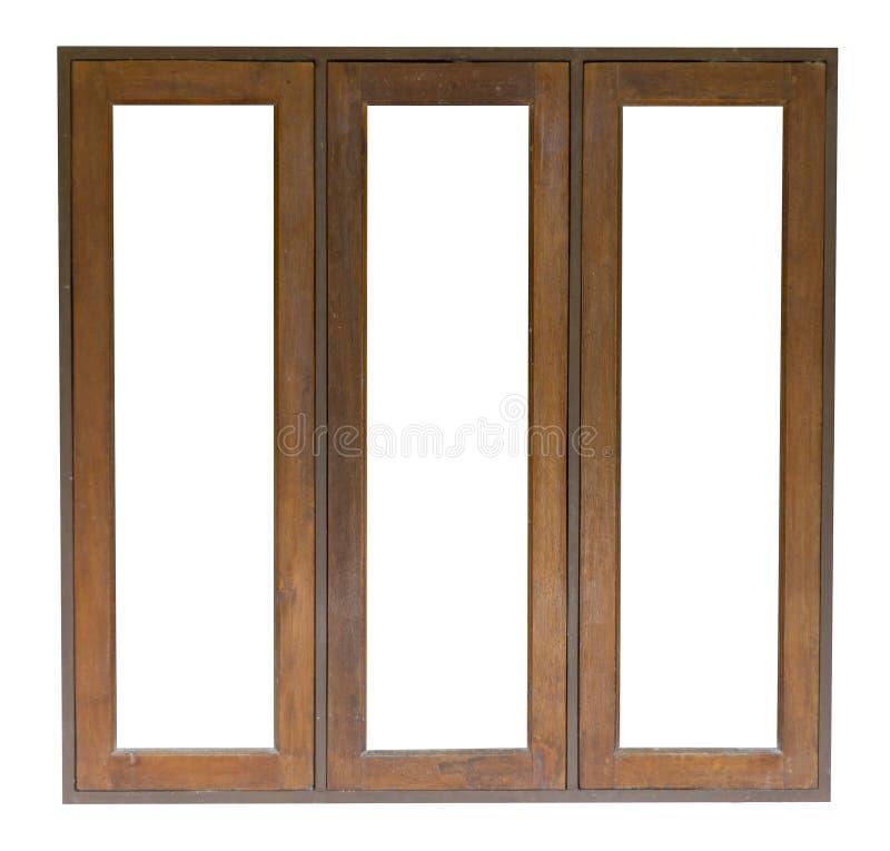 在白色背景隔绝的木窗口 保存与裁减路线 库存照片