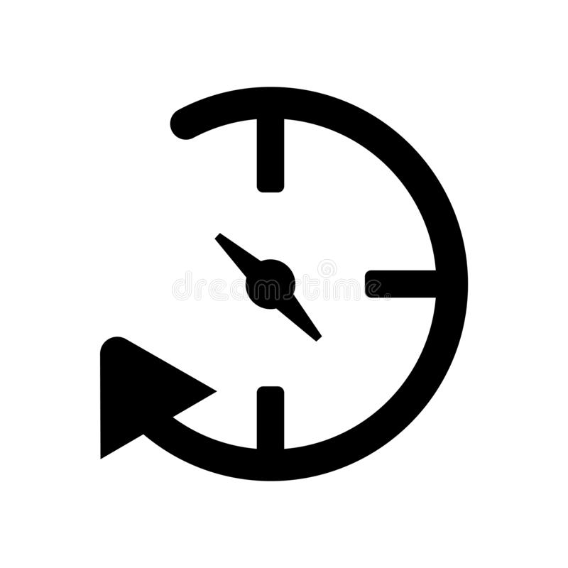 在白色背景隔绝的未来象传染媒介,未来标志,黑时间标志 库存例证