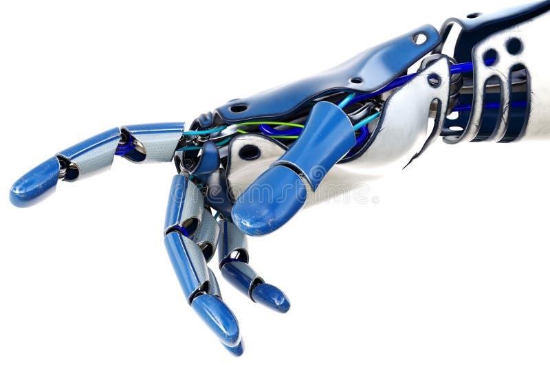 在白色背景隔绝的机器人手指向 库存例证