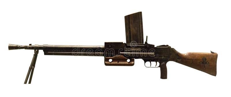 在白色背景隔绝的机枪手 机枪手工捷克斯洛伐克1936在第二次世界大战期间的g 库存照片
