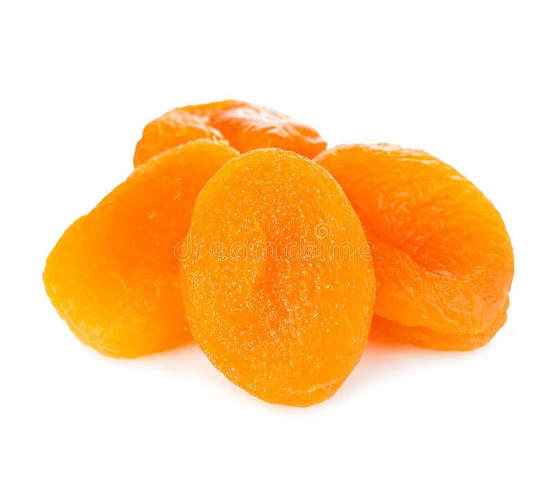 在白色背景隔绝的杏干特写镜头 库存图片