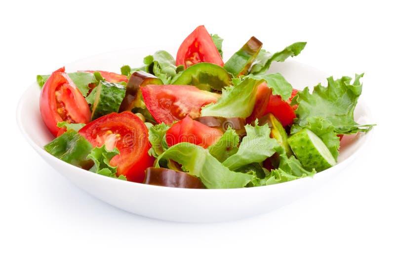 在白色背景隔绝的板材的新鲜蔬菜沙拉 库存照片
