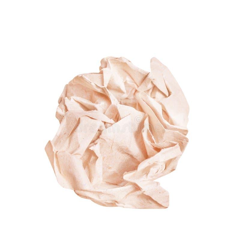 在白色背景隔绝的棕色压皱纸球样式的关闭 库存图片