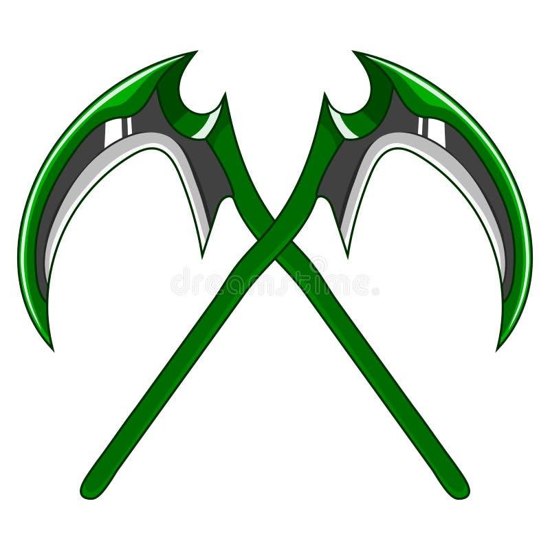 在白色背景隔绝的横渡的动画片绿色武器大镰刀 游戏设计设备 死亡工具  也corel凹道例证向量 库存例证
