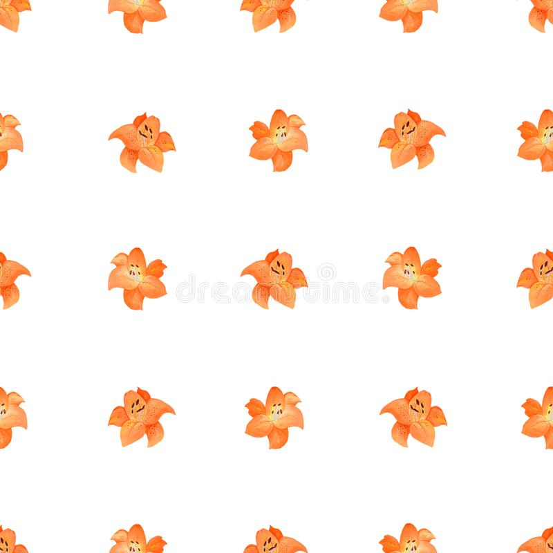 在白色背景隔绝的橙色百合的简单的无缝的样式 库存例证