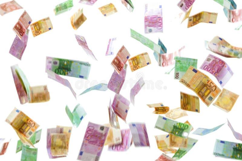 在白色背景隔绝的欧元钞票金钱雨  免版税图库摄影