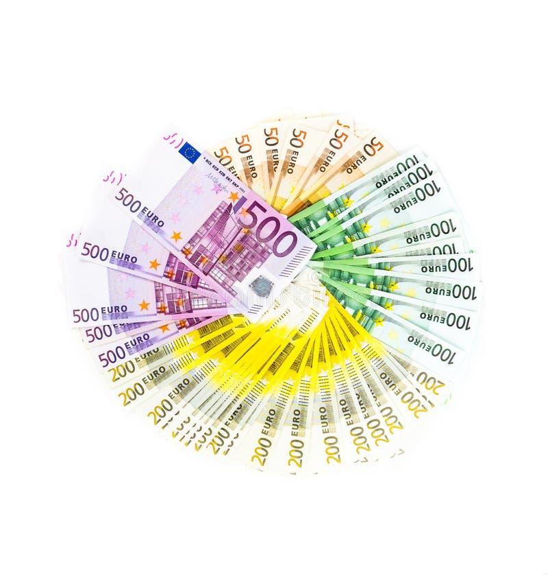 在白色背景隔绝的欧洲钞票金钱圈子  双边 图库摄影