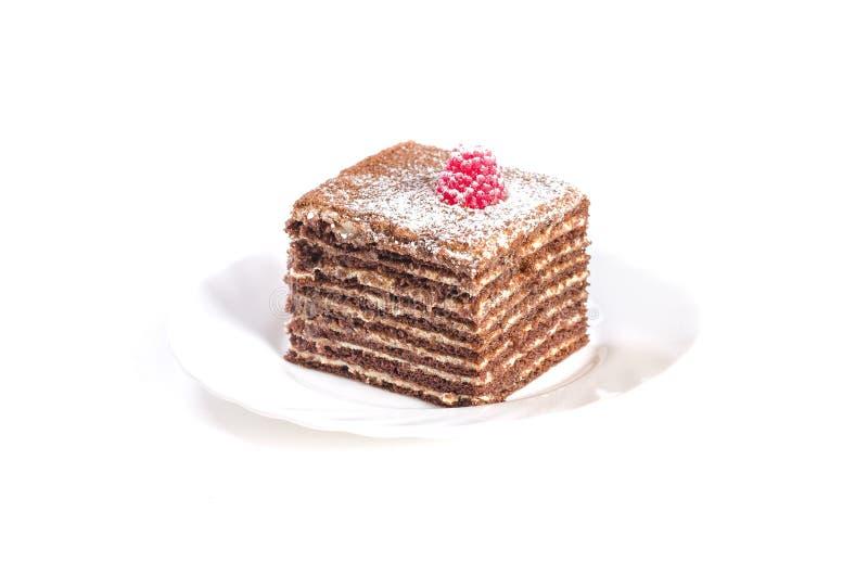 在白色背景隔绝的歌剧蛋糕 库存照片