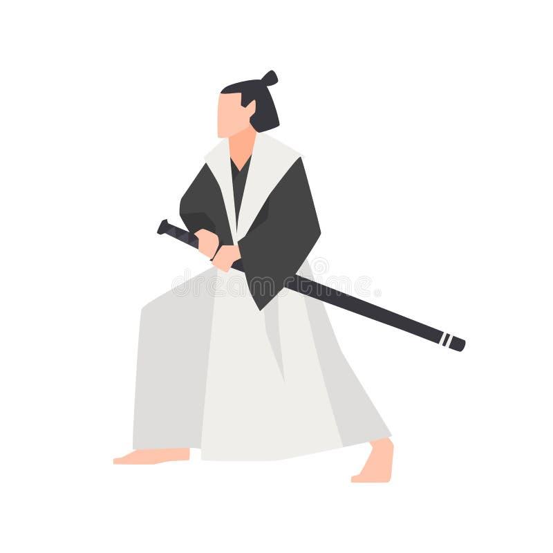 在白色背景隔绝的武士战士 勇敢的日本骑士佩带的和服,站立在战斗位置和 库存例证