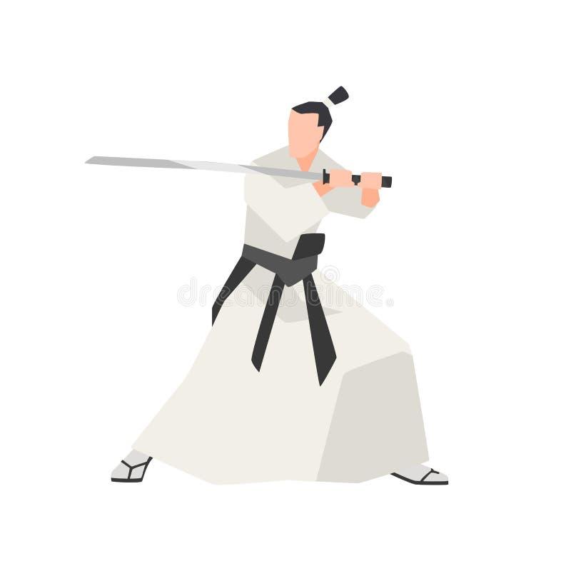 在白色背景隔绝的武士骑士 无所畏惧的古老日本英雄佩带的和服,站立在攻击姿势和 向量例证