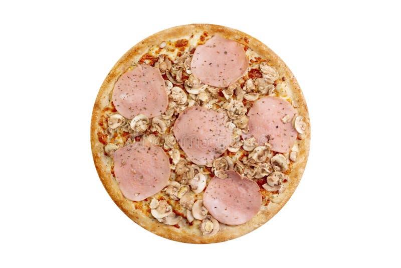 在白色背景隔绝的比萨 热的便当用乳酪、火腿和蘑菇 菜单卡片的食物图象,网络设计 库存图片