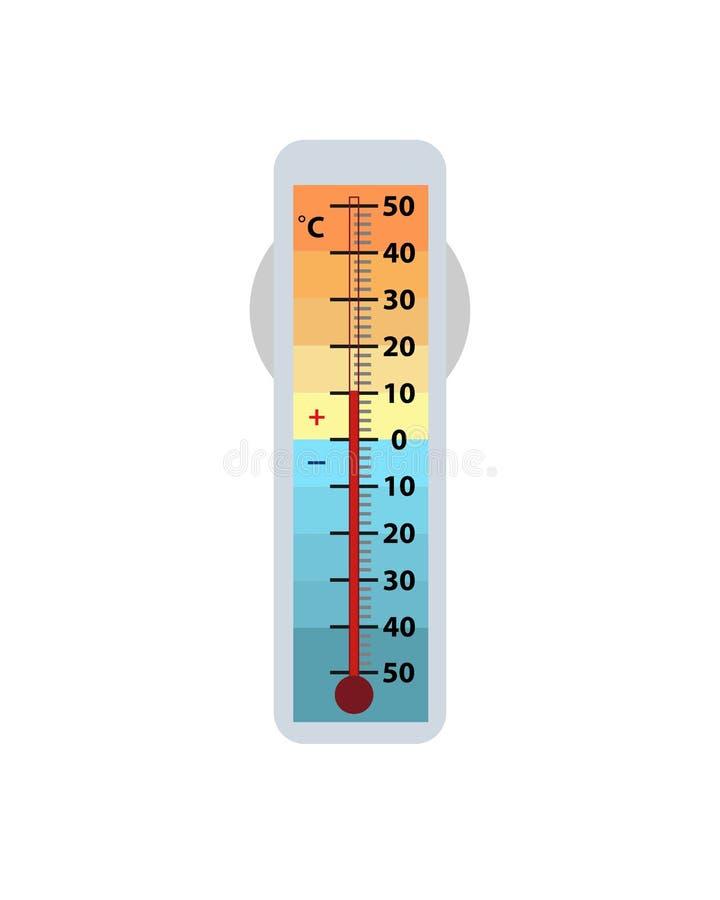 在白色背景隔绝的气象学温度计 温度计在摄氏显示气温 皇族释放例证