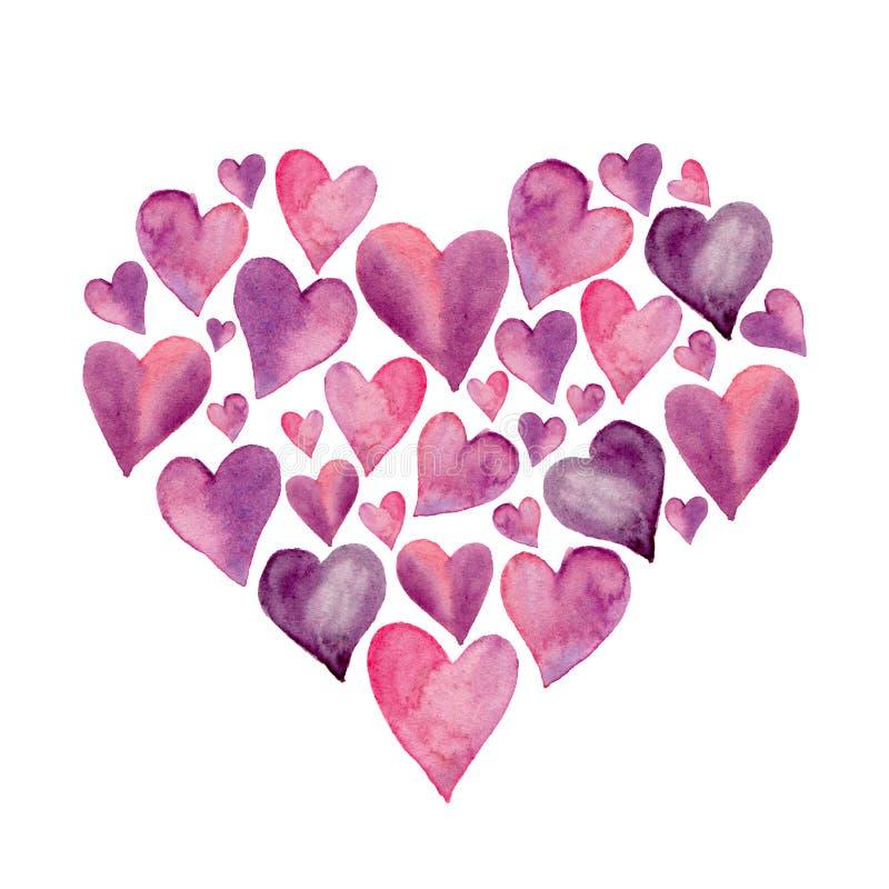 在白色背景隔绝的水彩心脏 与爱的标志的例证 日例证s华伦泰 皇族释放例证