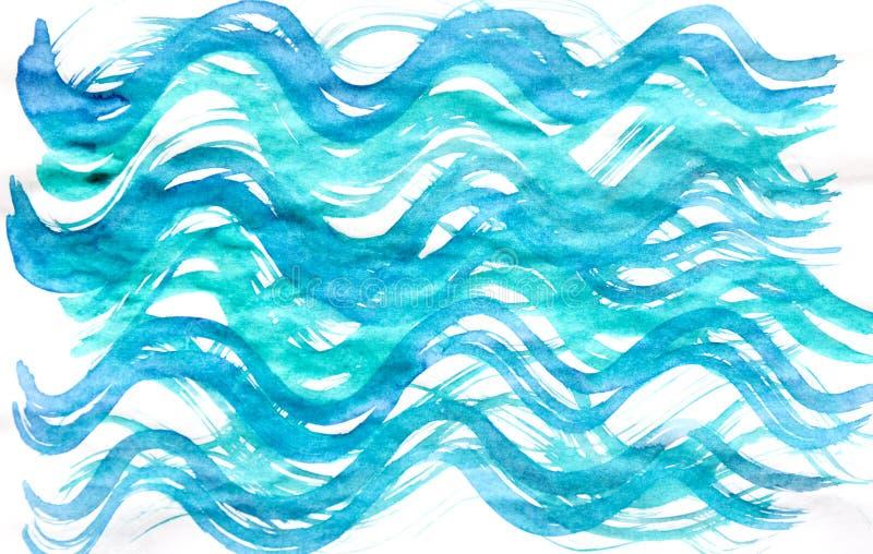 在白色背景隔绝的水彩手拉的蓝色纹理 向量例证