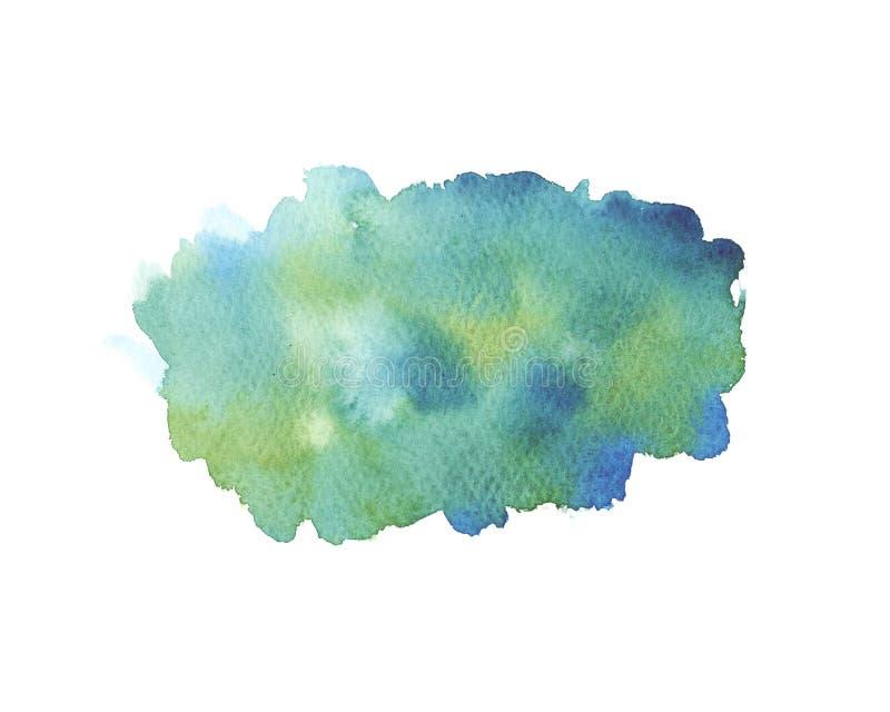 在白色背景隔绝的水彩湿绿松石,绿色和蓝色刷子冲程 库存例证