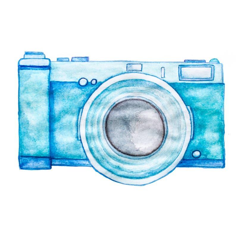 在白色背景隔绝的水彩蓝色照片照相机 库存照片