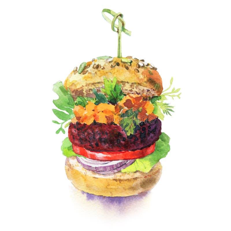 在白色背景隔绝的汉堡水彩 素食主义者汉堡用莴苣、蕃茄、甜菜根、红萝卜和葱 ? 库存图片