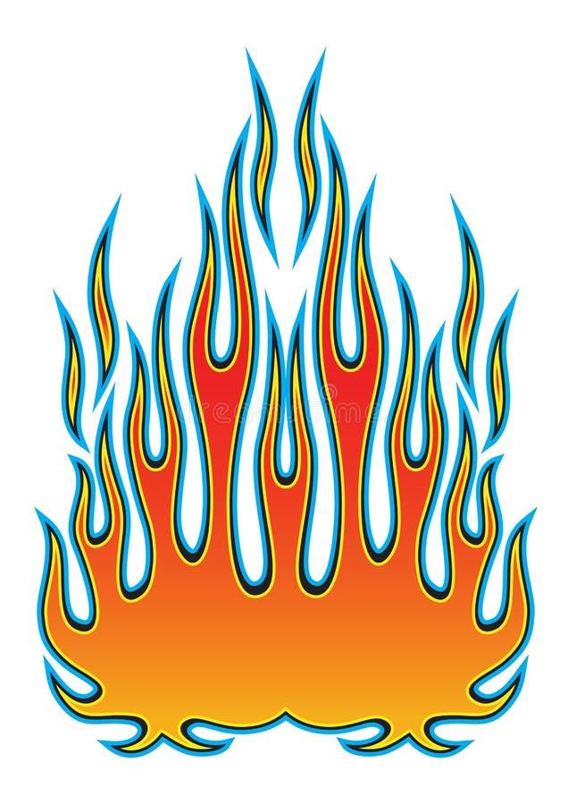 在白色背景隔绝的汽车敞篷的部族hotrod肌肉汽车火焰成套工具 库存例证