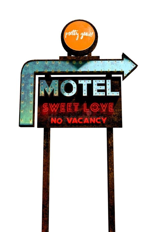 在白色背景隔绝的汽车旅馆标志 向量例证