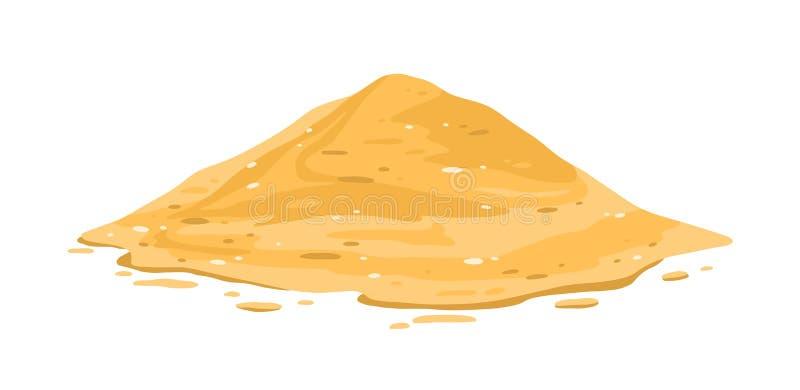 在白色背景隔绝的沙子堆 桑迪沙丘在沙漠或在海滩、建筑或者制造原料 库存例证