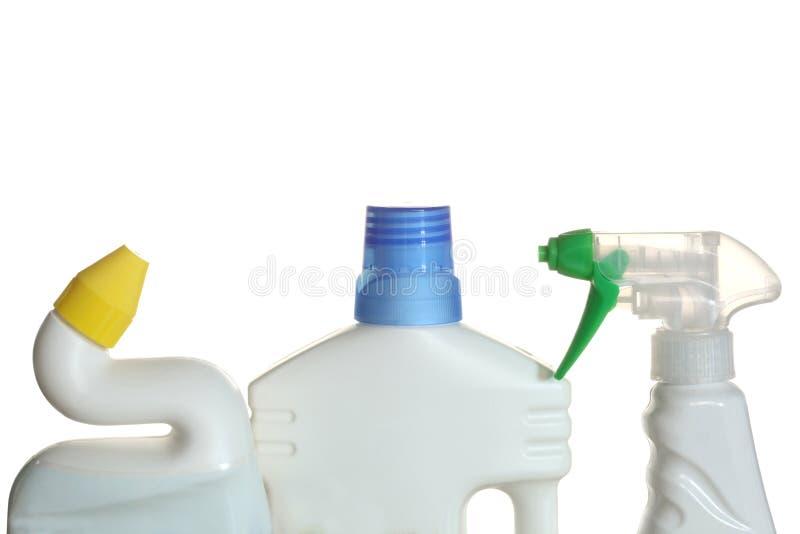 在白色背景隔绝的洗涤剂塑料瓶 库存照片