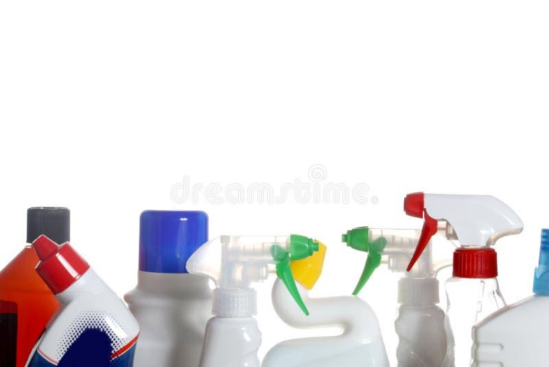 在白色背景隔绝的洗涤剂塑料瓶 库存图片