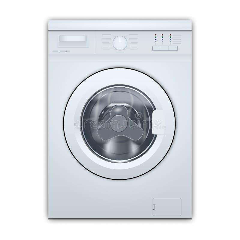 在白色背景隔绝的洗衣机前端装载 正面图,特写镜头,绝密 3d现实传染媒介 向量例证