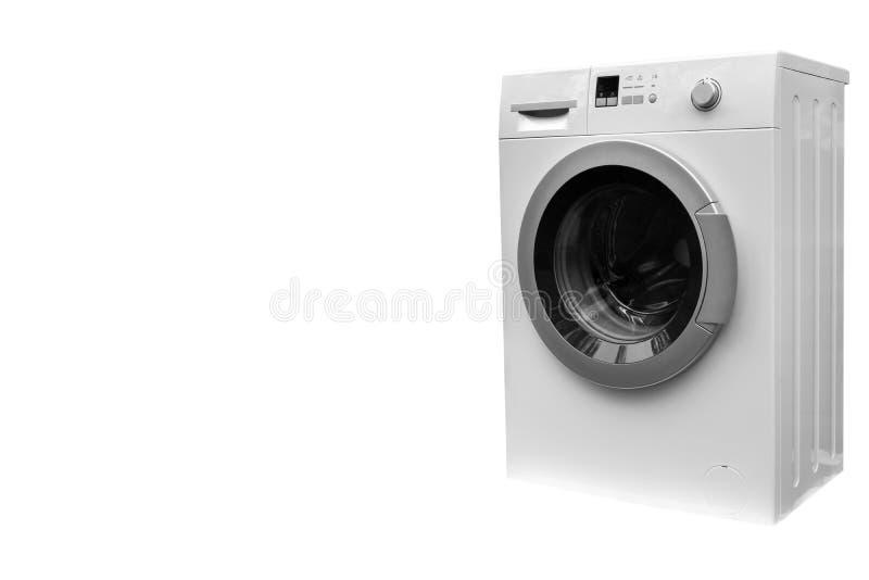 在白色背景隔绝的洗衣机 洗衣机被隔绝在白色 库存照片